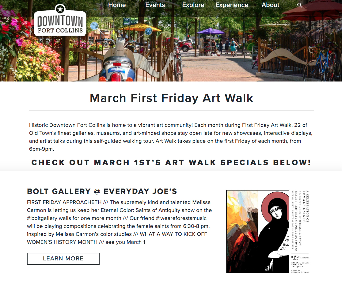 Feature on the Fort Collins First Friday Gallery walk, Melissa Carmon represented by Bolt Gallery. An art and music collaboration show with We Are Forests