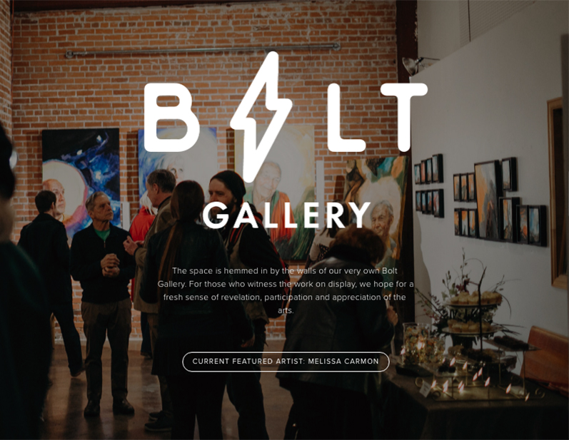 A picture from an opening for Melissa Carmon as the landing page for Bolt Gallery. Photo credit: Krista Tippmann
