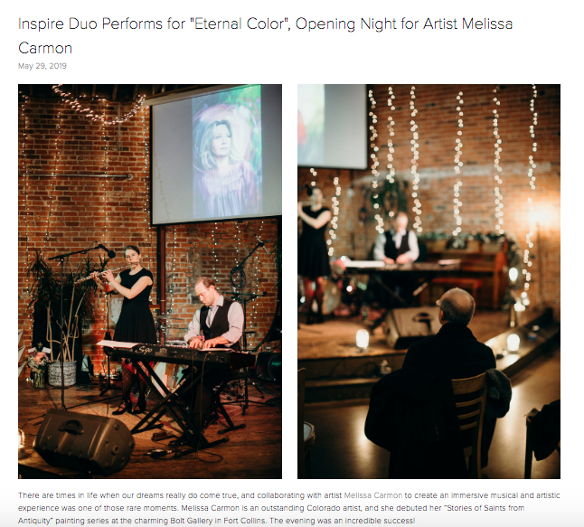 Art and Music Collaboration with Inspire Duo. This blog post is from Christen Stephens' blog, for more please visit:  Inspire Duo Performs for Eternal Color opening for artist Melissa Carmon