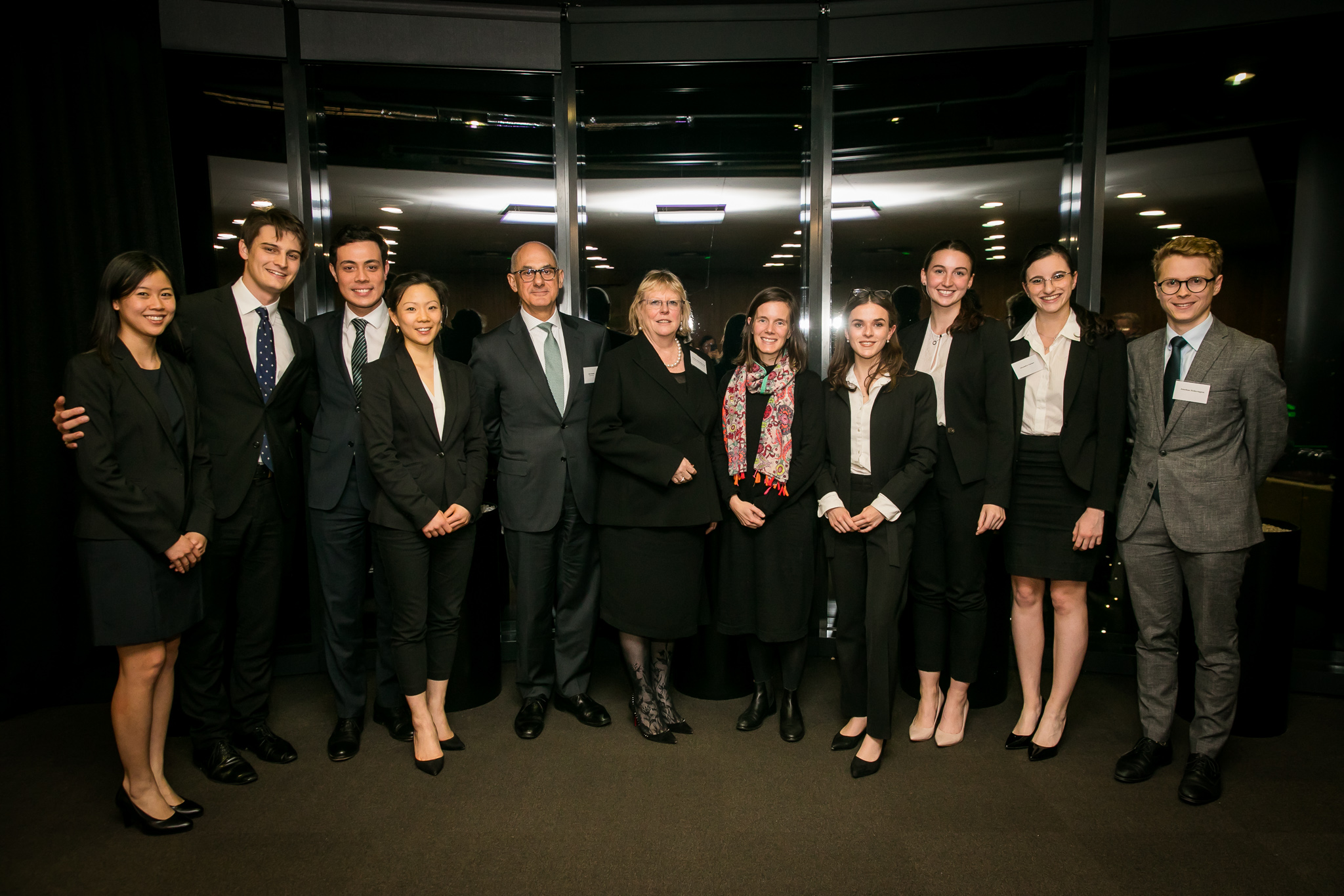 The grand finalists of the 2019 UNSW Private Law Moot, from the University of Sydney (left) and University of Technology, Sydney (right), with The Honourable Justice Julie Ward (New South Wales Supreme Court); Jessica Hudson (UNSW Law); John Samaha (Partner, Allen & Overy).