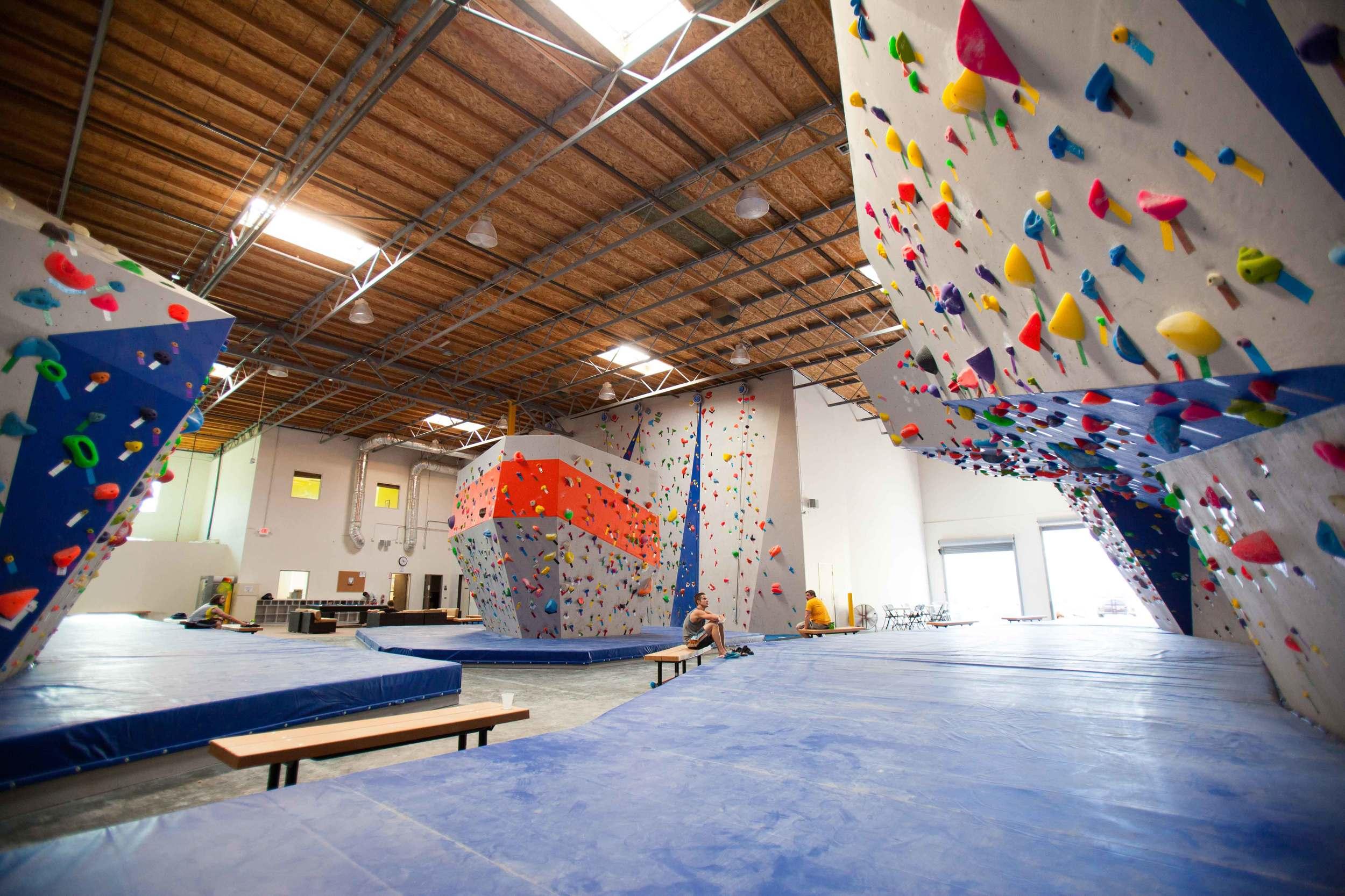 Interior of climbing gym