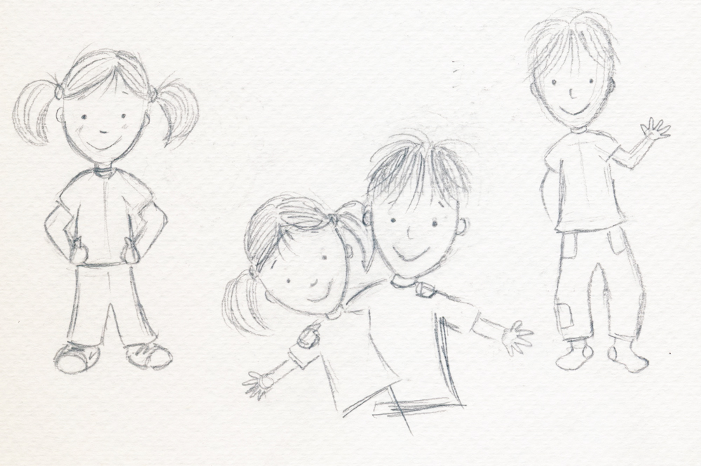 First sketches for Jack & Hannah had them looking too old...