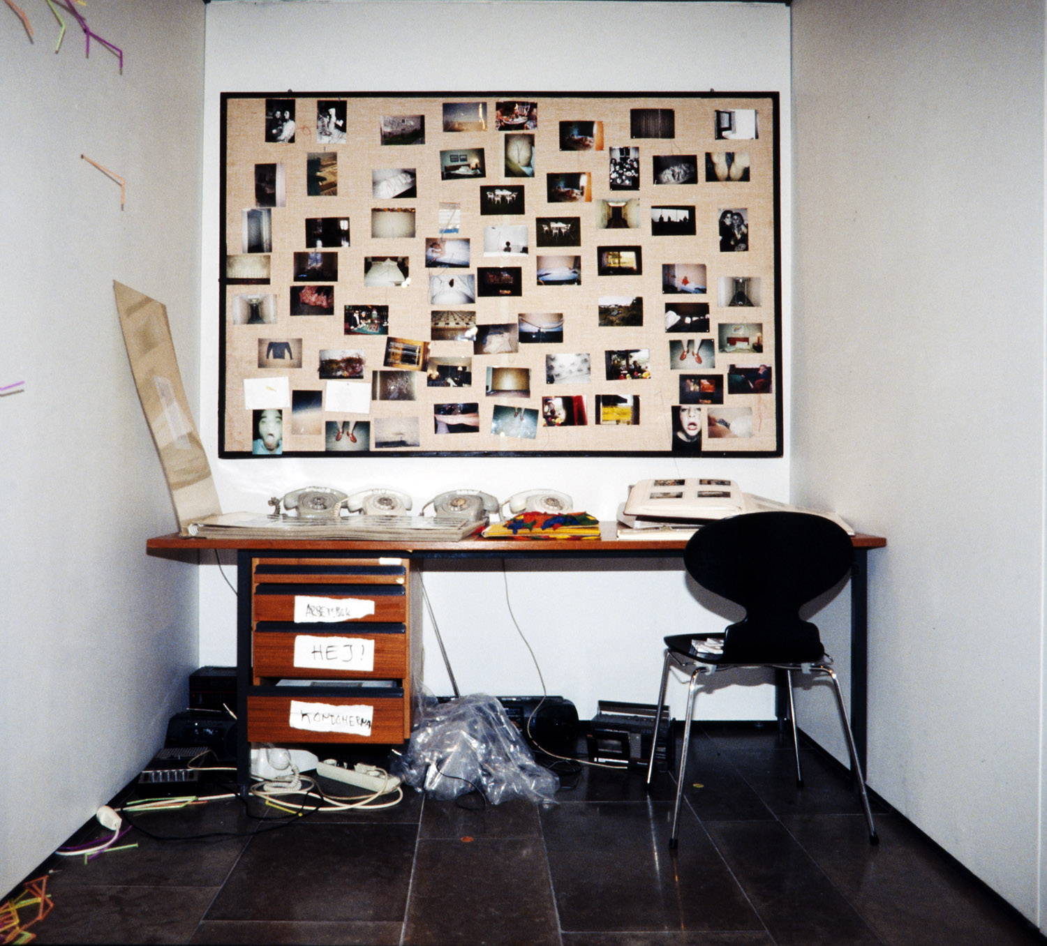 """This pinboard version of sew samples was shown at Hasselblad Center in Gothenburg as part of the installation """"office"""" each picture 10x15 cm"""