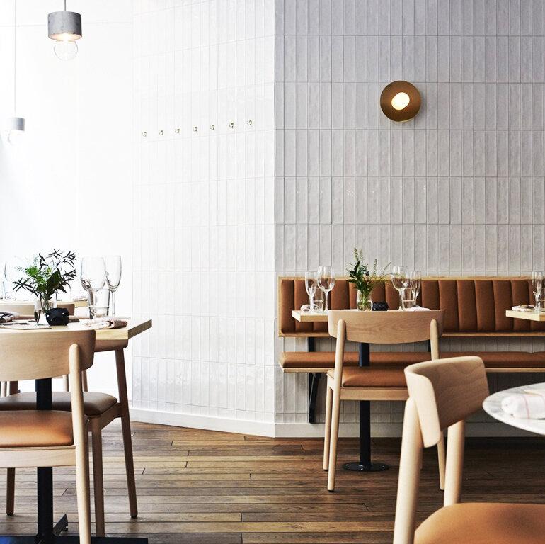 Disc and sphere   wall light | 140OL Joanna Laajisto restaurant Michel Helsinki
