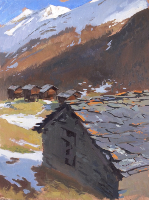 Slate roof above Zermatt. 30x40cm
