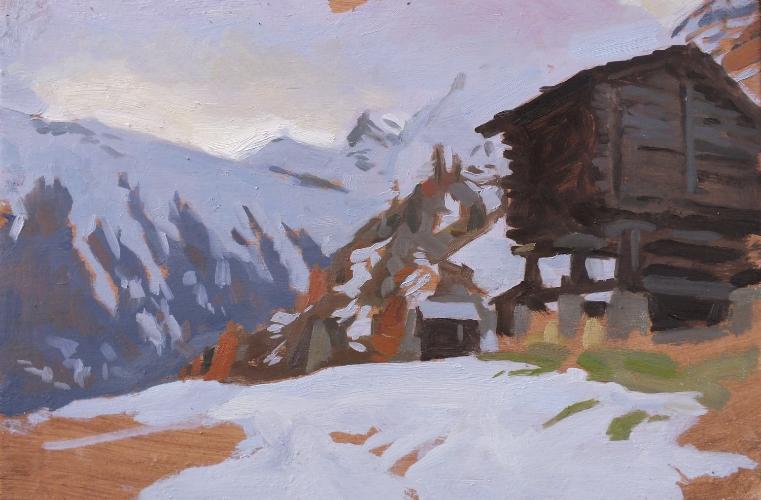 Huts above Zermatt. 20x30cm