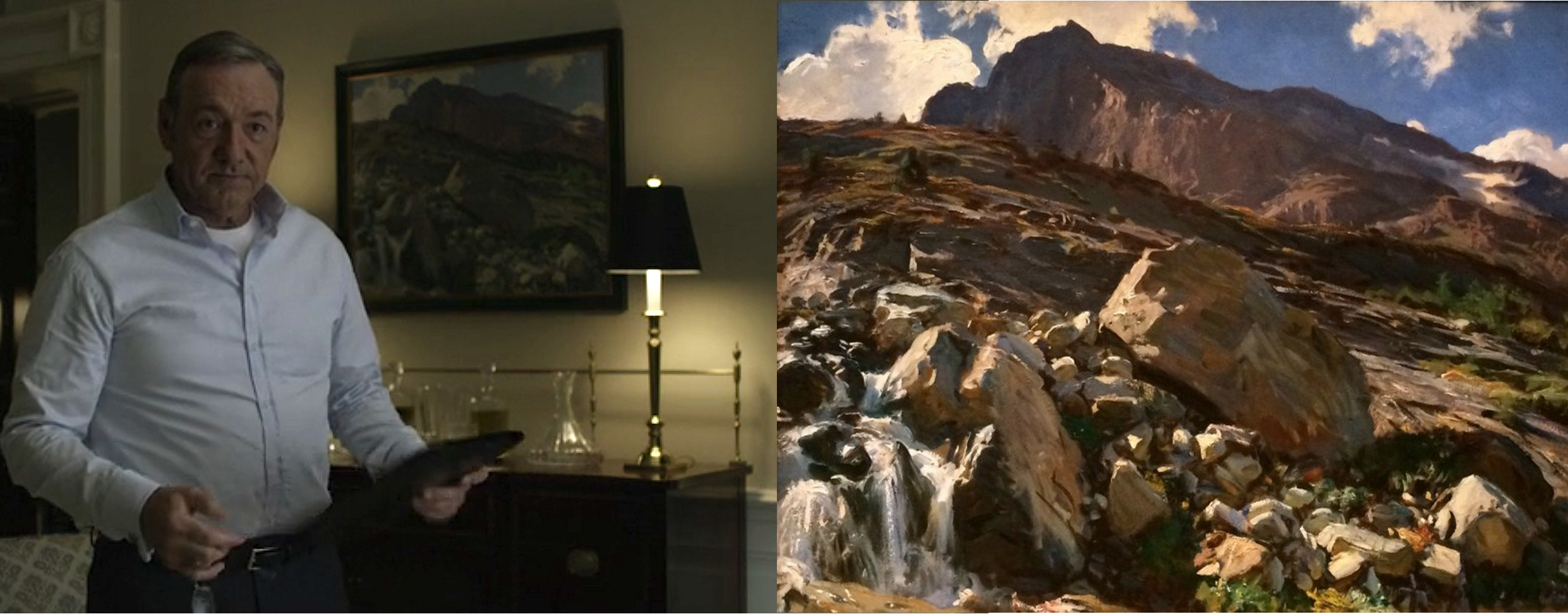 "Frame on left: In background we see hanging Sargent""s painting of the Simplon Pass."