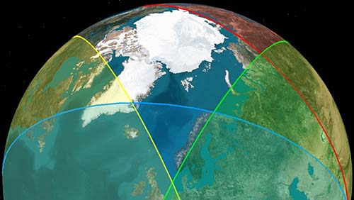 Coloured fields indicate satellite coverage. Blind-spot in the Arctic.