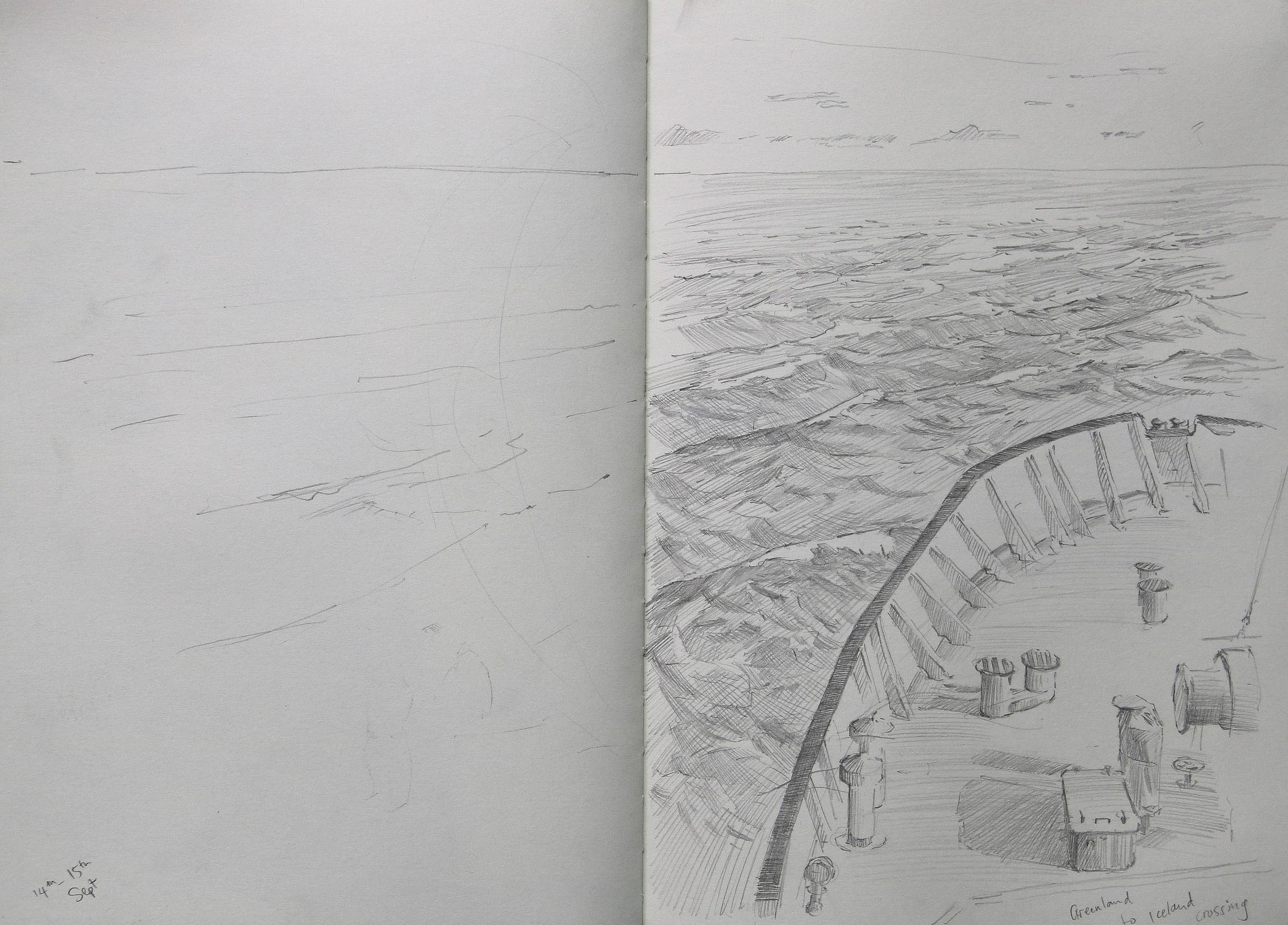 Pushing through the Denmark strait.