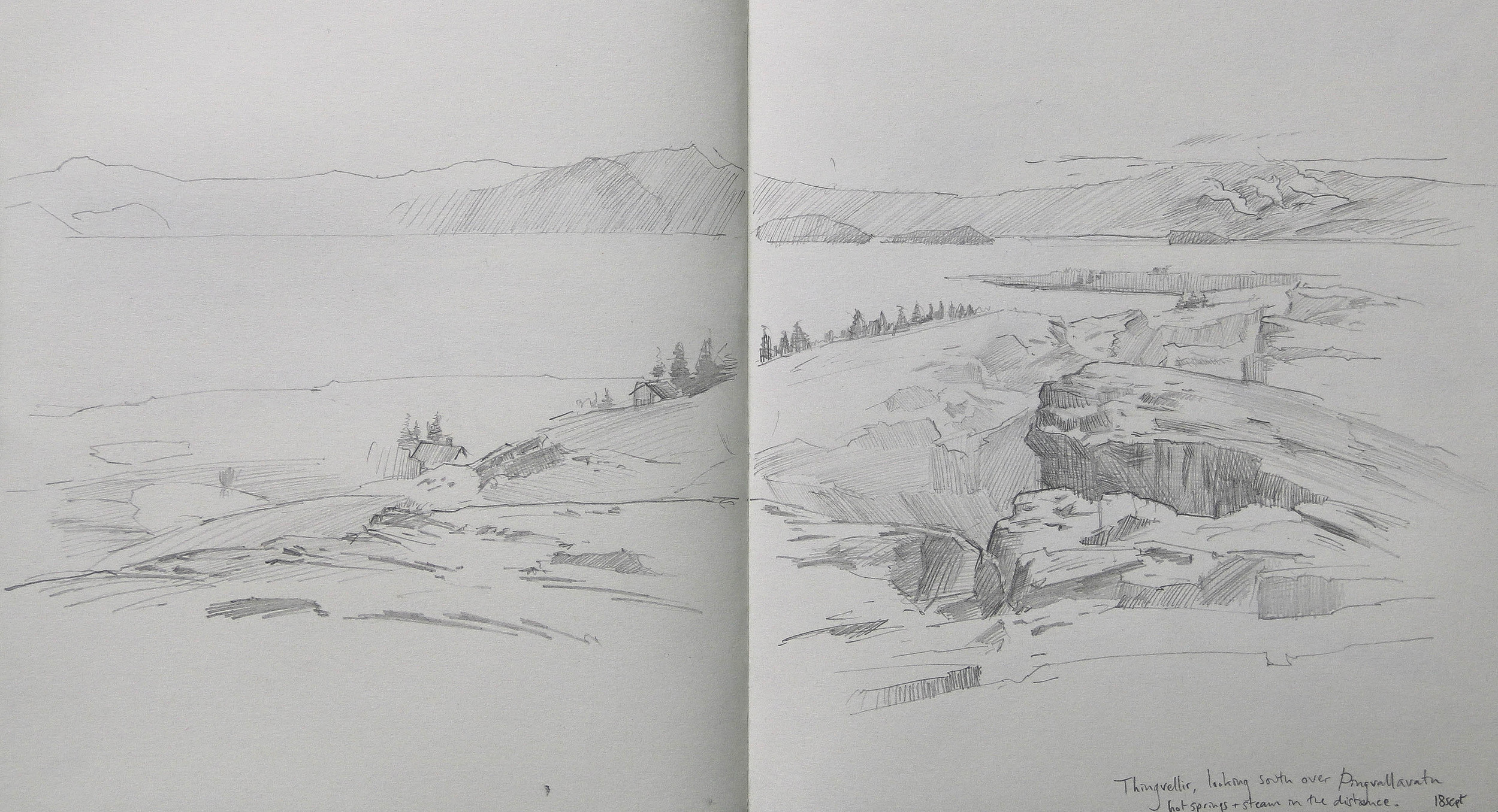 pencil sketch from Thingvellir.