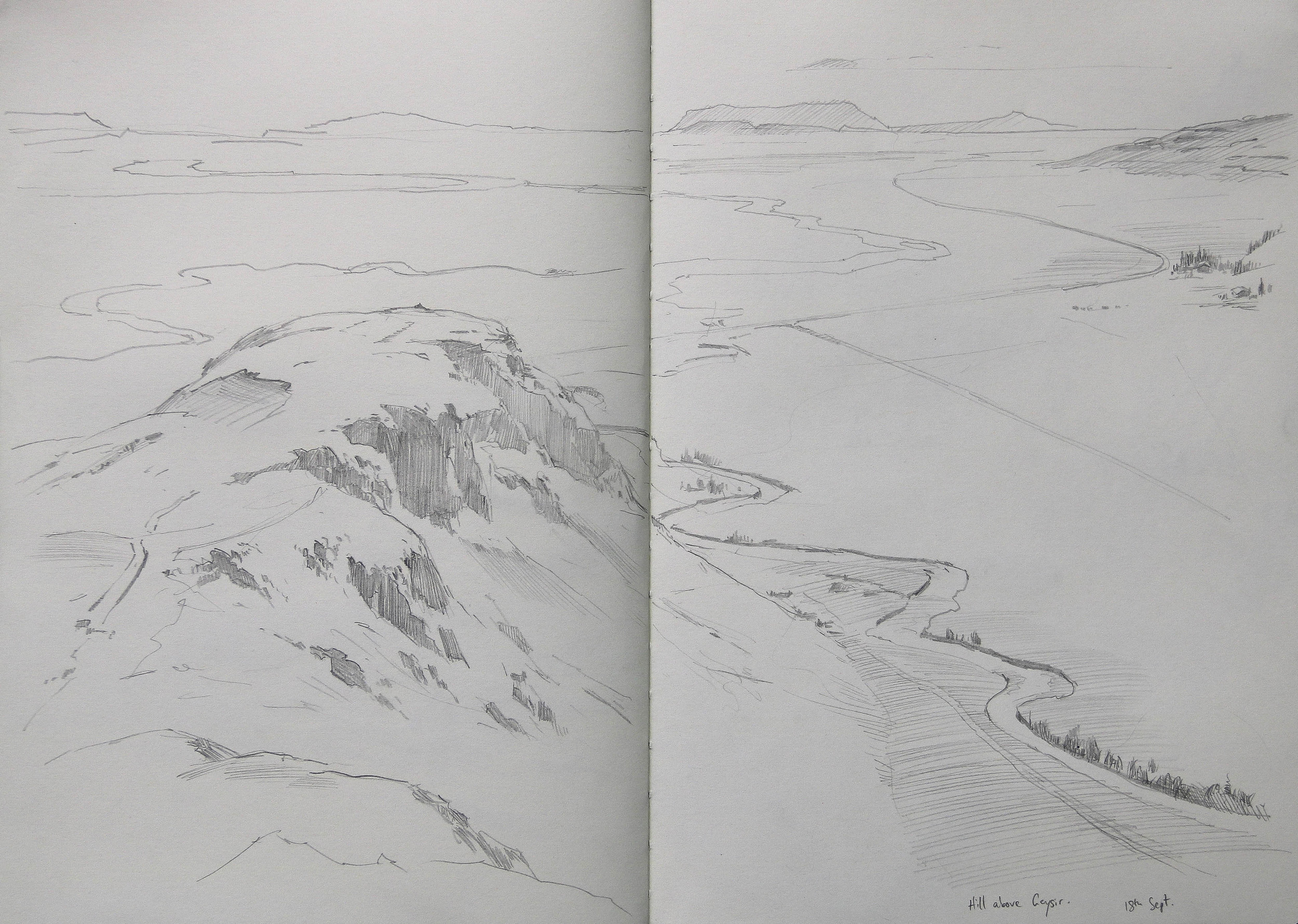 Pencil sketch, looking south from Geyser.