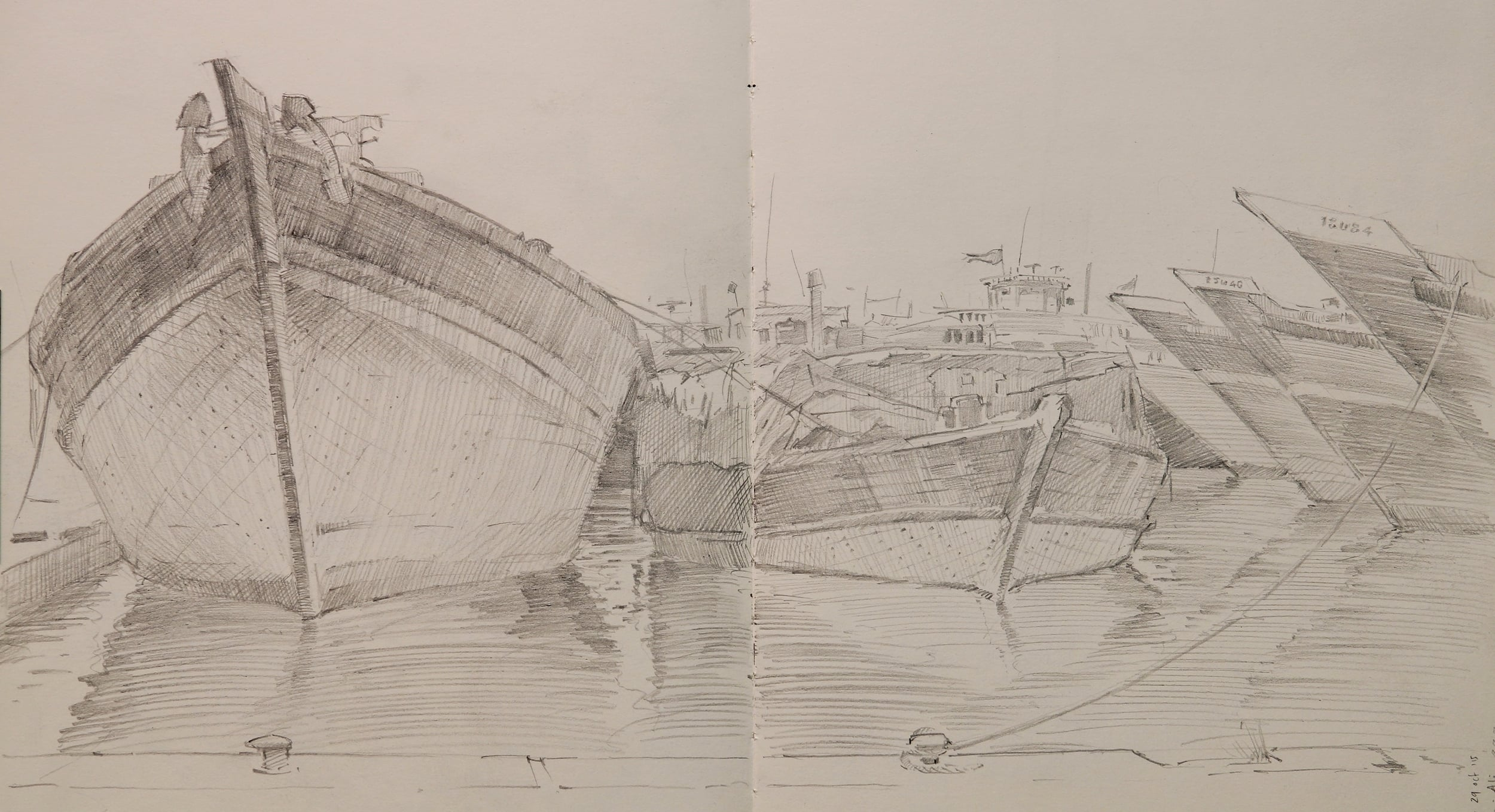 Pencil sketch of Barges in Dubai.