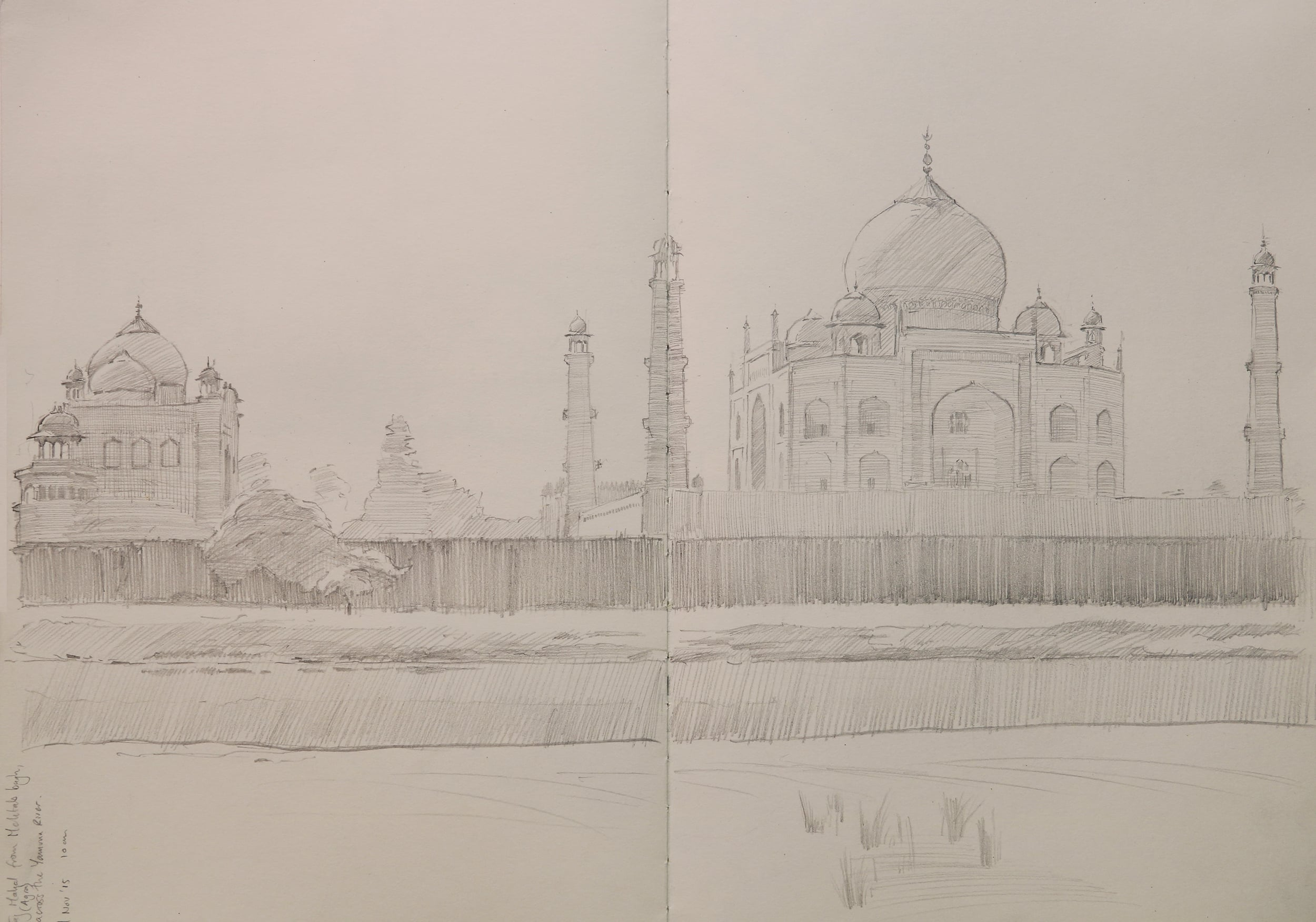Taj Mahal pencil sketch, from Mehtab Bahg.