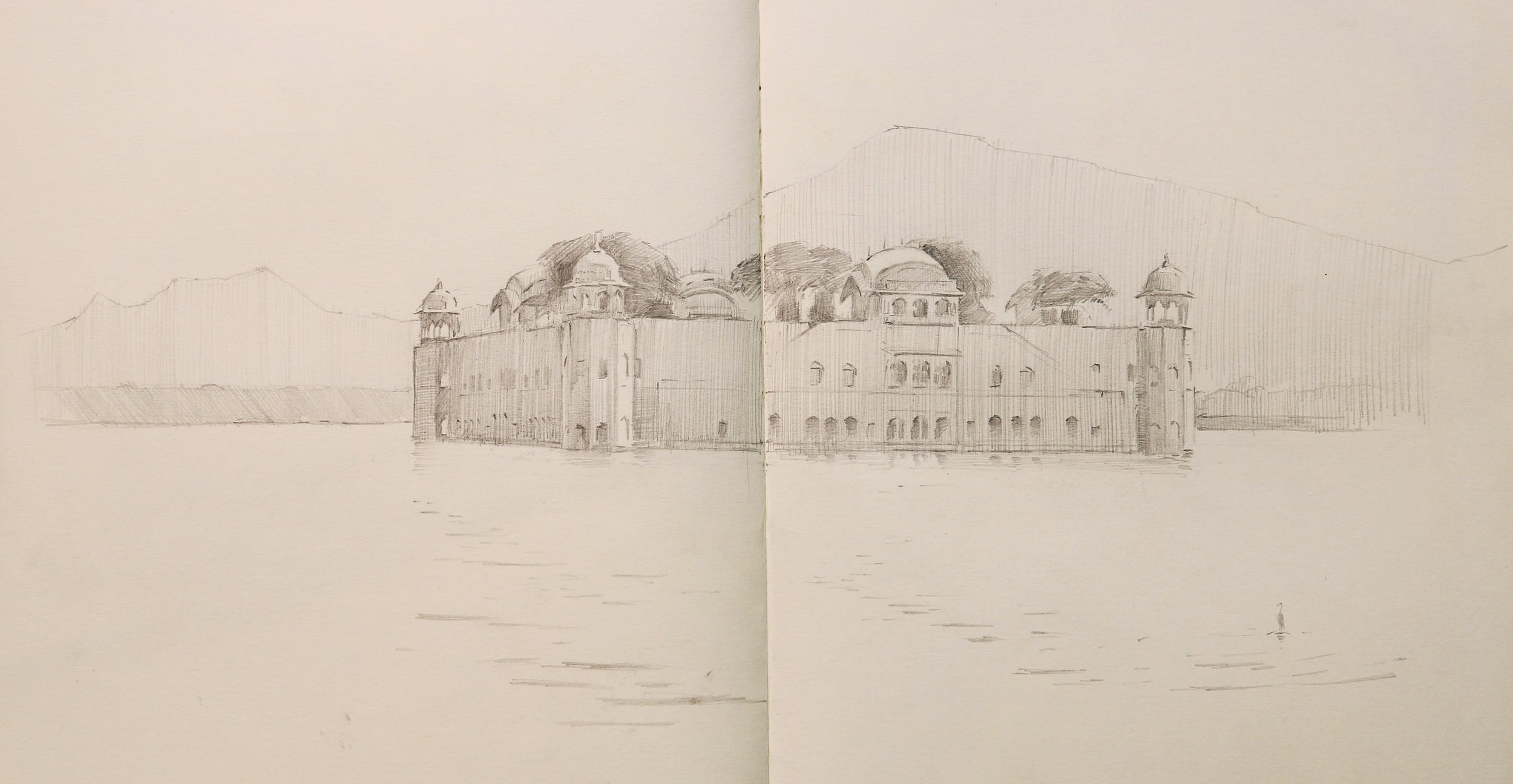 Pencil sketch of Jahl Mahal Palace.