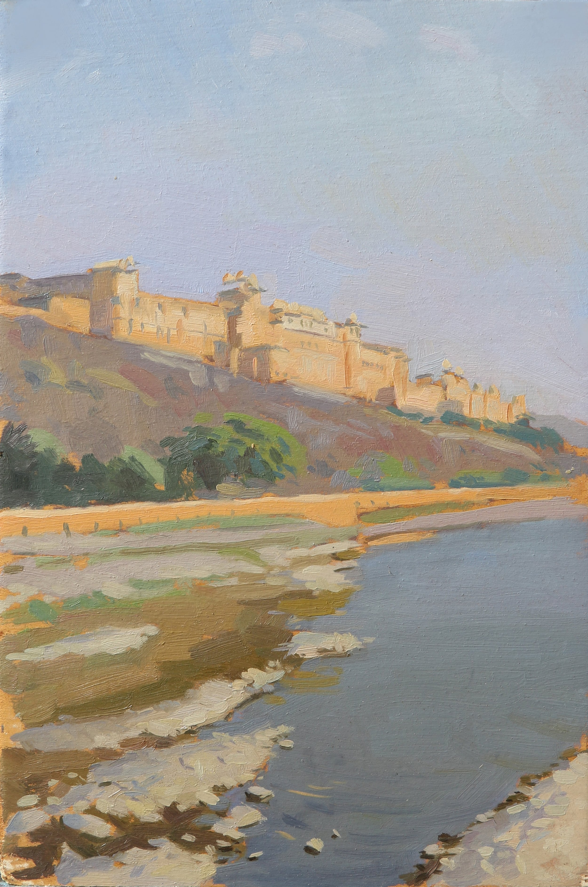 Amber fort, morning, jaipur. Oil on board, 20x30cmjpg