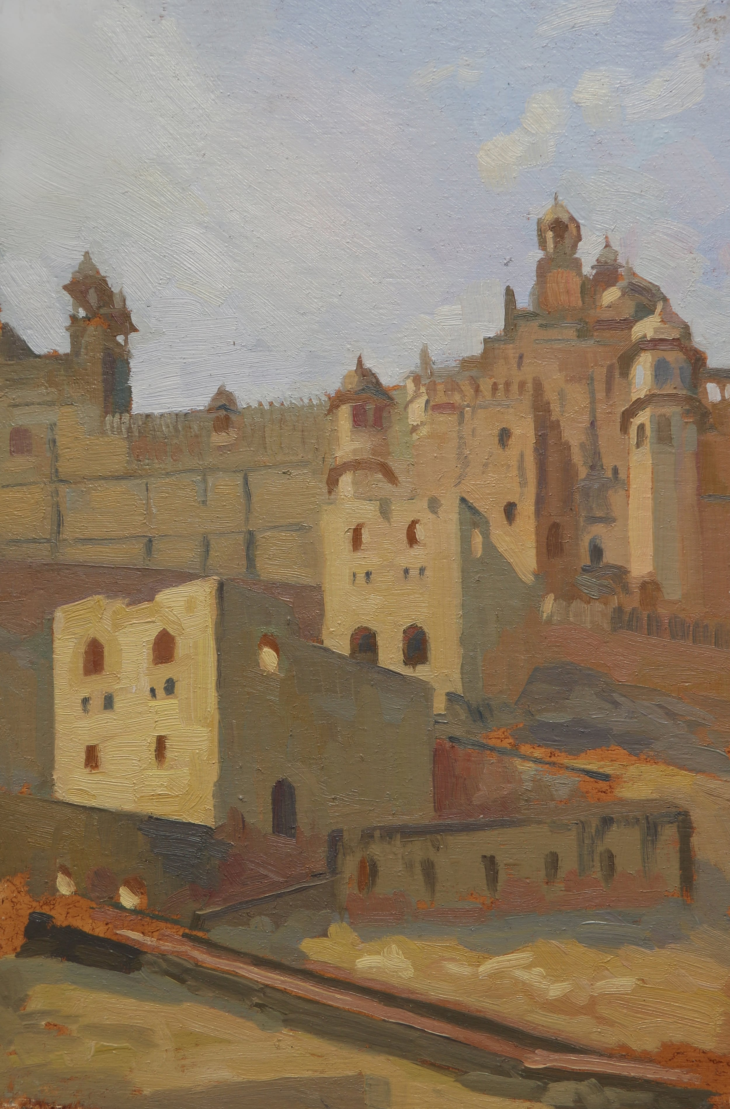 Amber fort water towers, Jaipur, 20x30cm, oil on board.jpg
