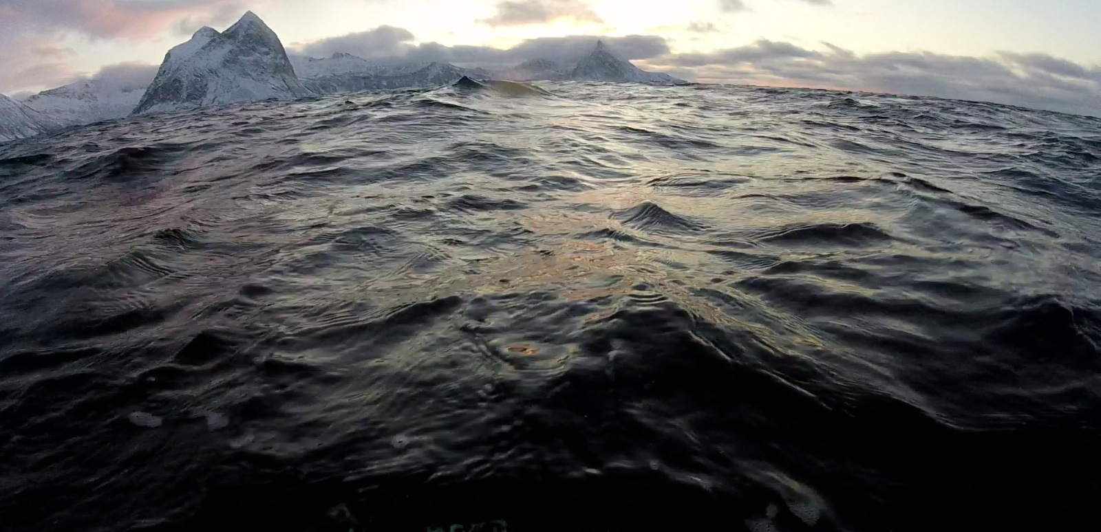The dark, cold and uninviting arctic waters.