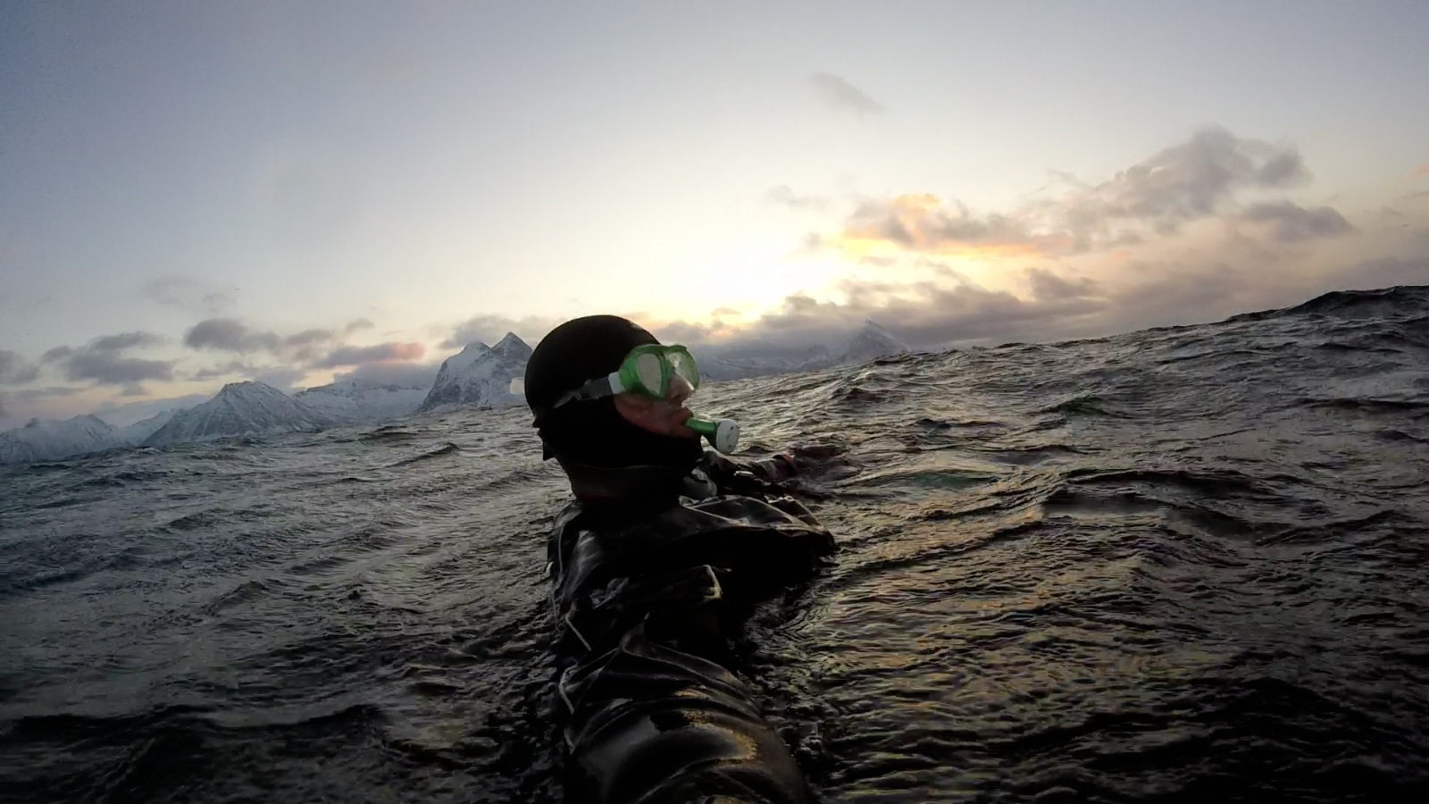 Enjoying the buoyancy of the D9 dry suit.