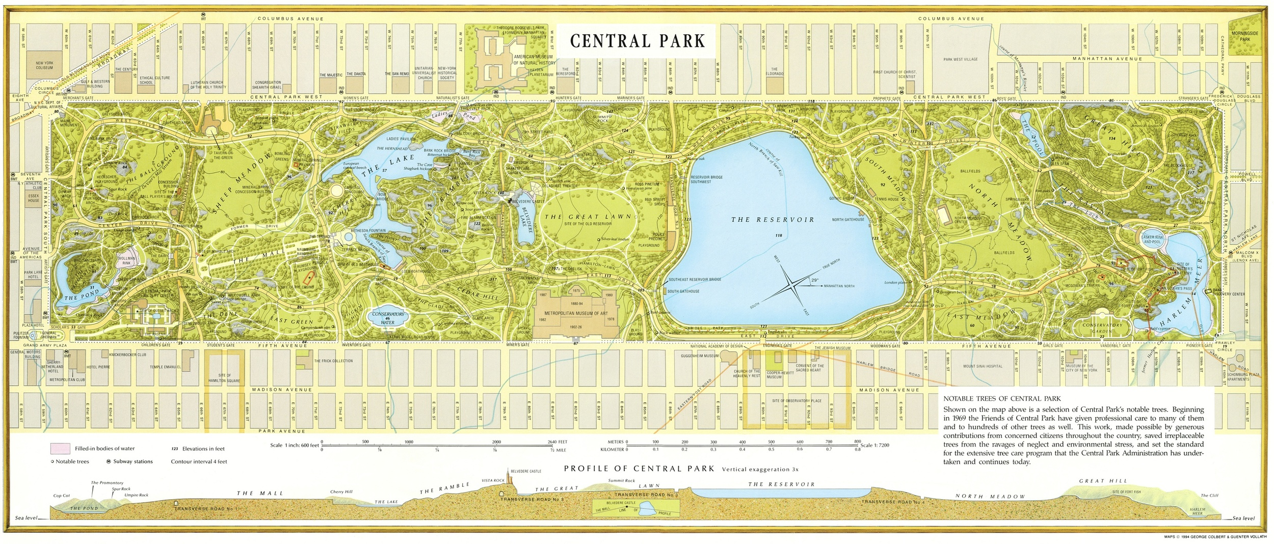 map of Central Park, with elevation cross-section.