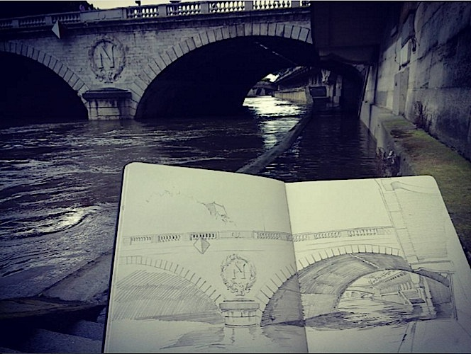 "View of ""Pont au Change"", with sketchbook"