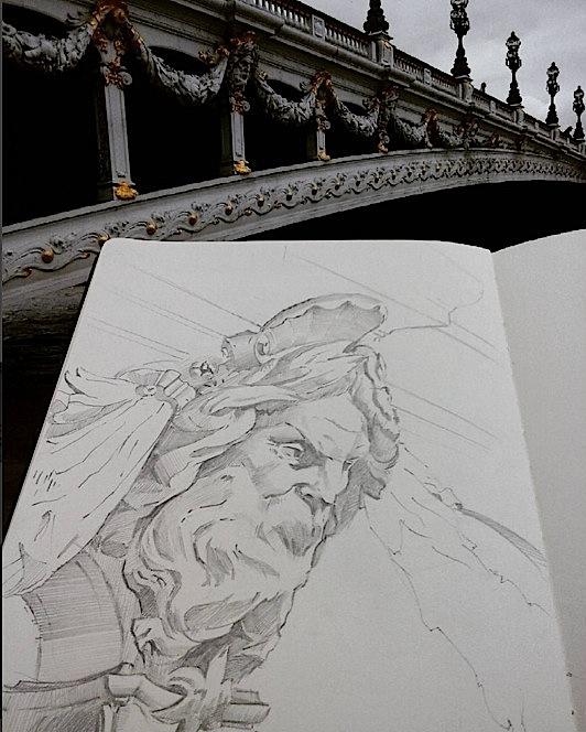 Pont Alexandre III with sketchbook