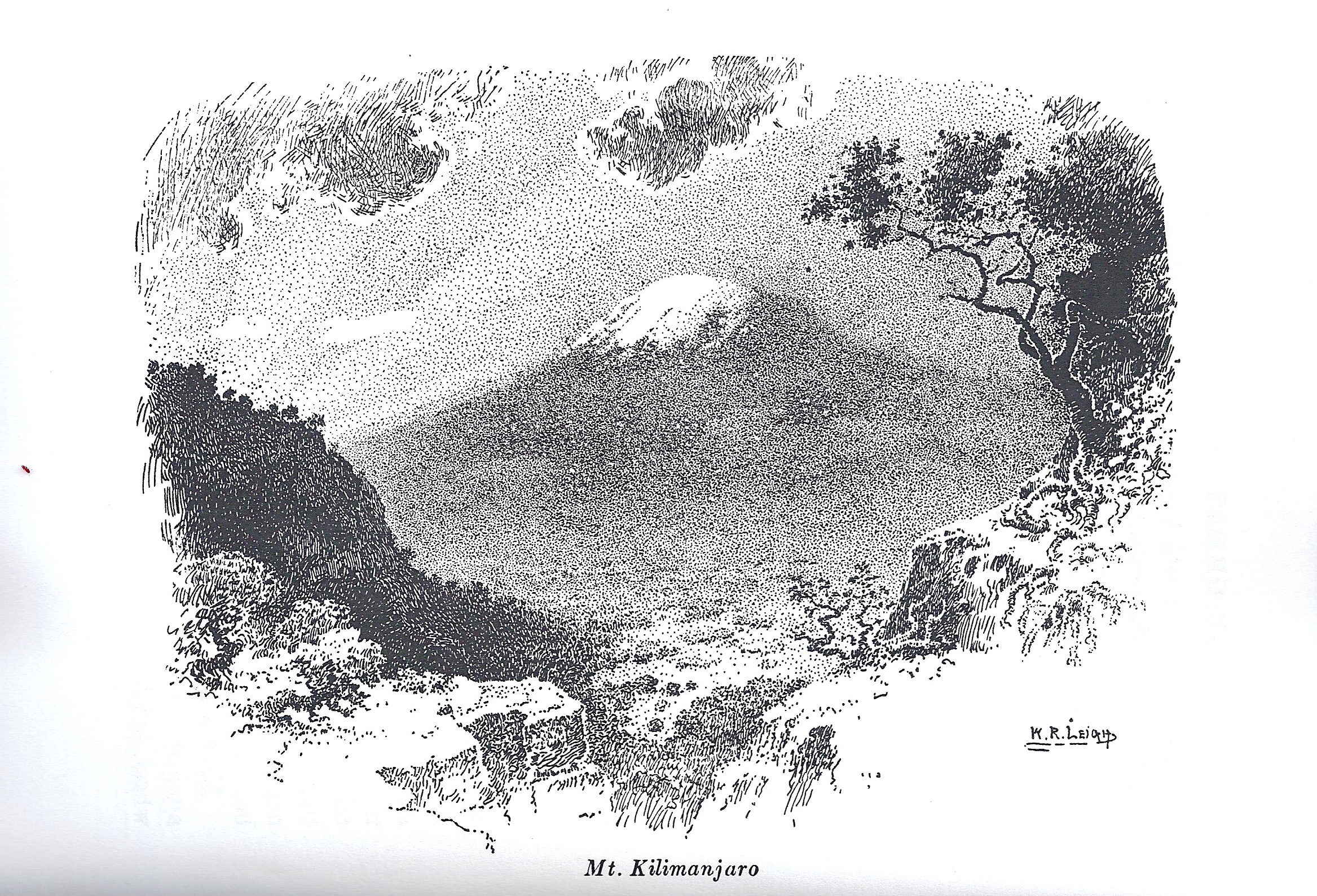 "Mt Kilimanjaro, by William Leigh, in his book ""Frontiers of enchantment"""