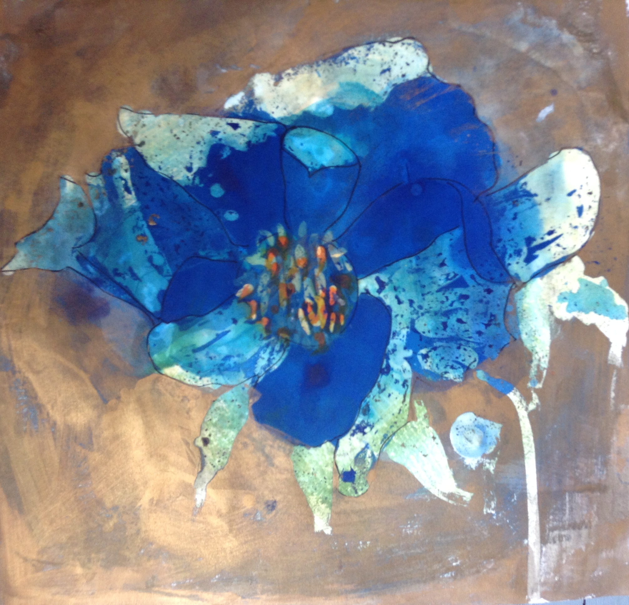 Blue Himalayan Poppy, acrylic and wax resist on paper, 2014