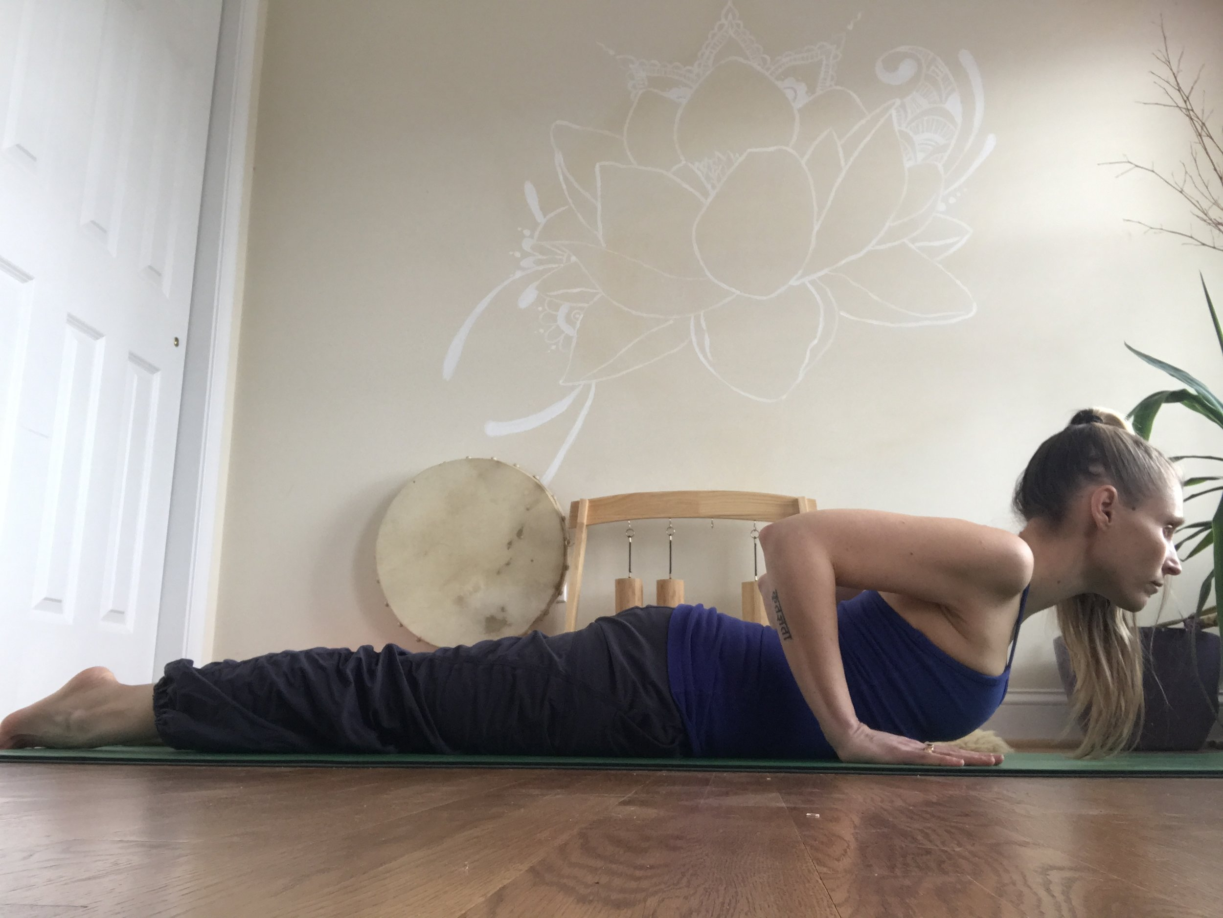 Cobra - This pose has the potential for grounding the front side of your body. Gently press your feet down as you simultaneously press your palms into the mat. Go for a gentle, even pressure. No gripping or strain. If it feels better, you might even let your forehead come down to the mat and stay for a couple breaths in this shape.