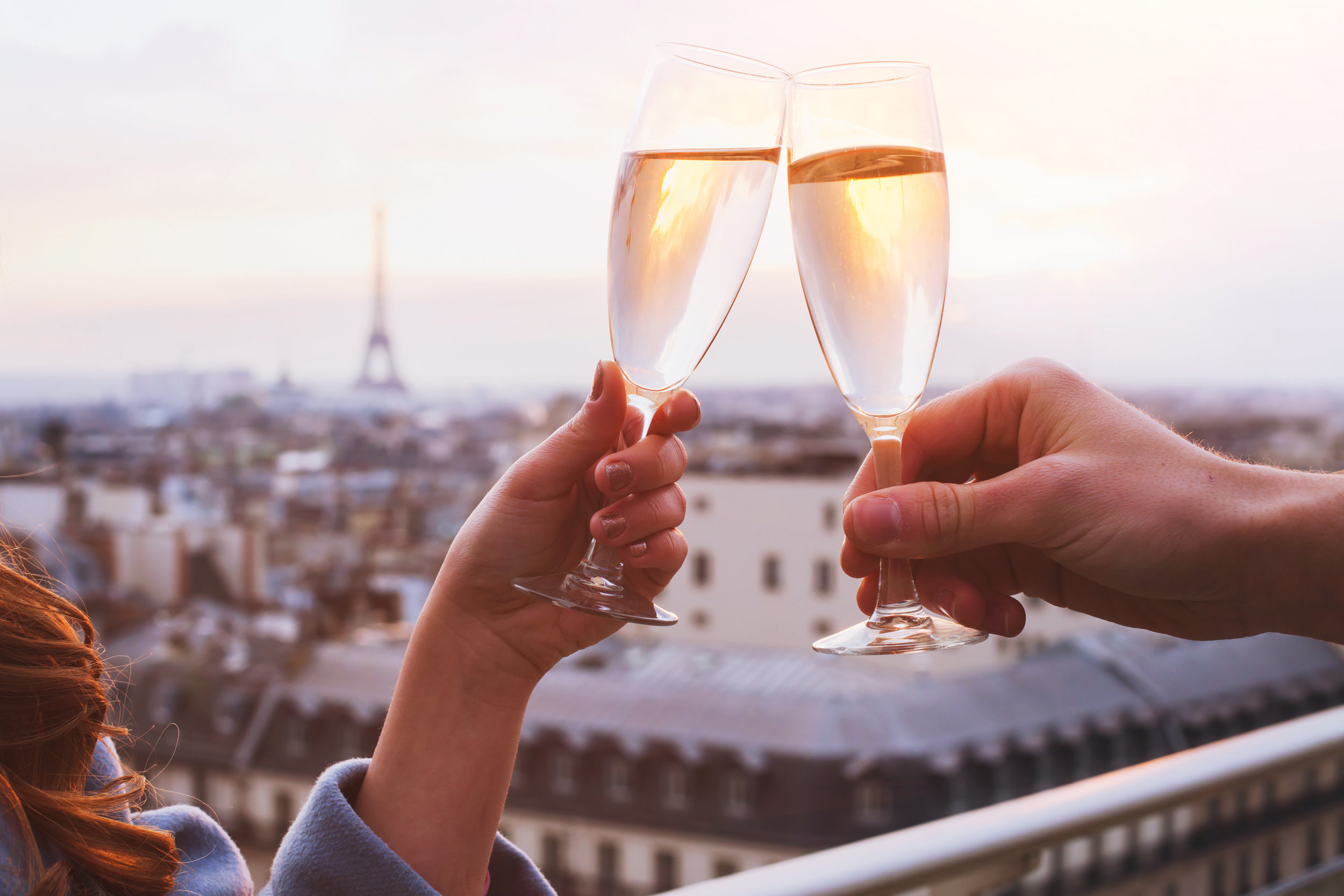 champagne toast in Paris