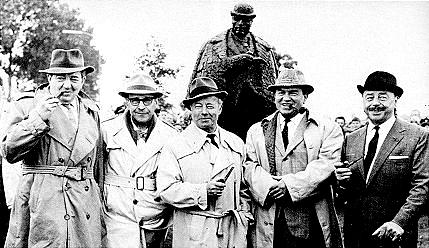 Unveiling the statue of Maigret at Delfzijl, September, 1966.Georges Simenon (2nd from left) with four television Maigrets:Rupert Davies (GB), Heinz Ruhmann (Germany),Gino Cervi (Italy), Jan Teuling (Holland). [Image and caption from:http://www.trussel.com/maig/statue.htm]