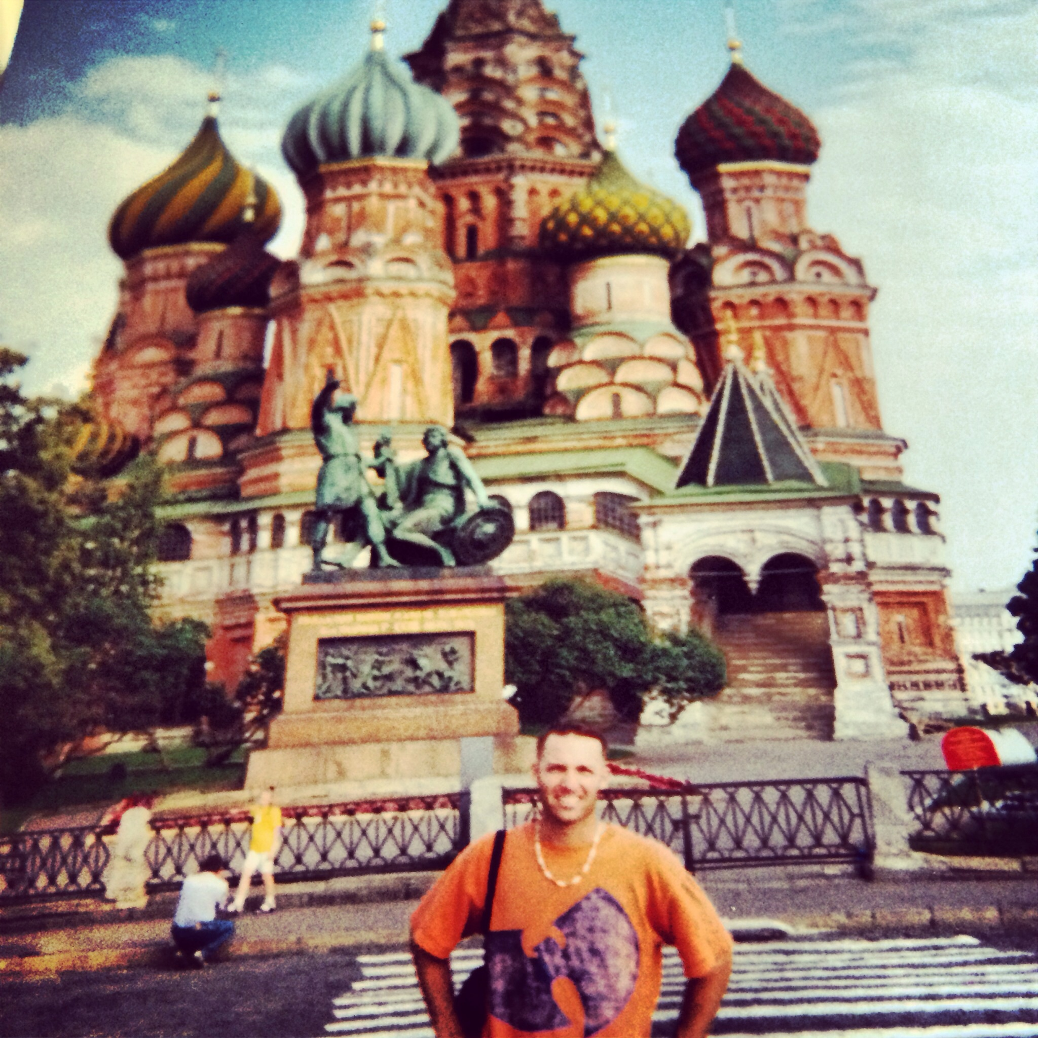 Circa 2001 in Moscow, Russia standing at St. Basil Cathedral