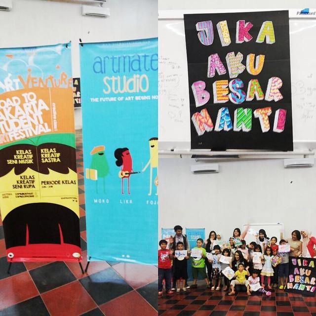 "Our 1st Artventure class on 20/12/2014:  Menggambar & Mewarnai dengan tema ""Jika aku besar nanti"" 🎨 🚀"
