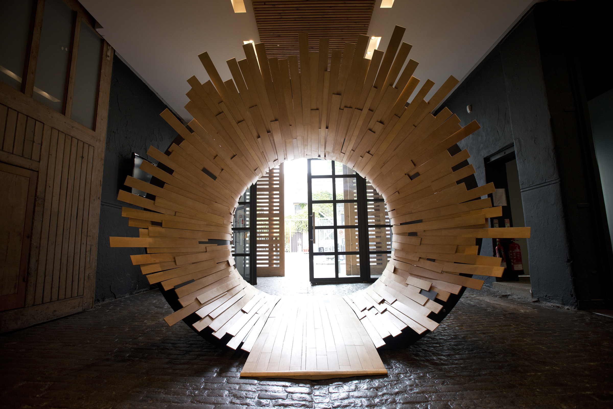 Wooden tunnel for London fashion week