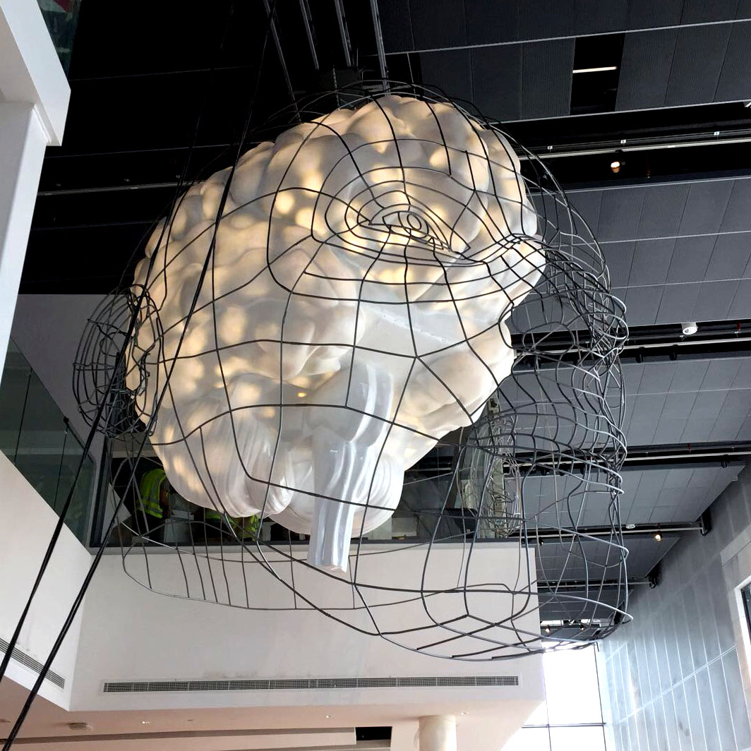 illuminating brain sculpture