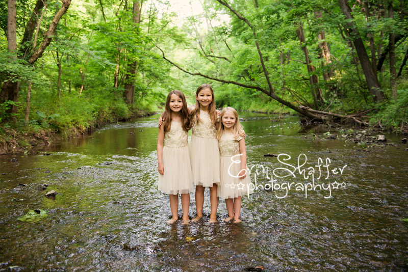 3 sister in creek with matching dresses - Mechanicsburg family photographer