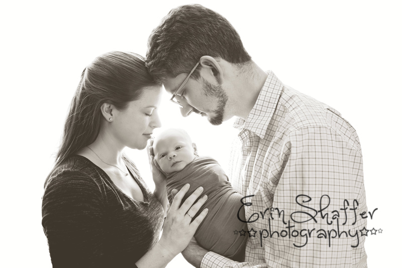 black and white photo of New mother and father with newborn baby boy - camp hill newborn photographer