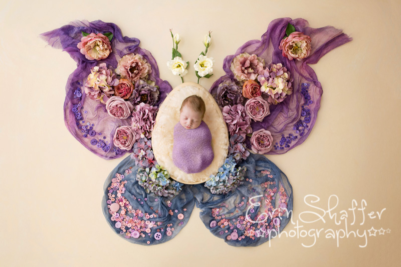 Newborn baby girl with foral butterfly arrangement around her - Mechanicsburg Newborn photographer