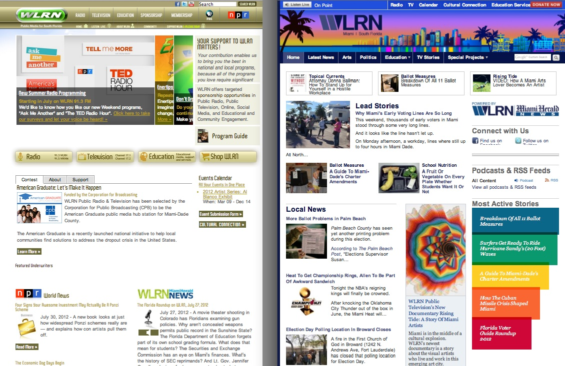 WLRN.org before the launch (left). Re-launching on Core Publisher (right) made us a truly multiplatform newsroom for the first time.