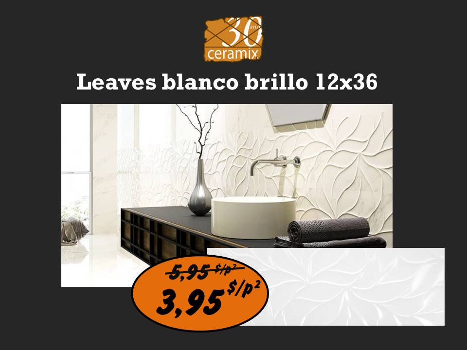 Leaves blanco brillo 12x36