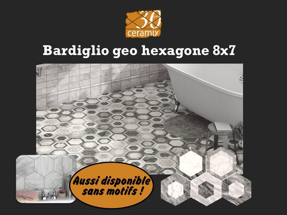 Bardiglio geo hexagone 8x7 - 6,95 $/PC