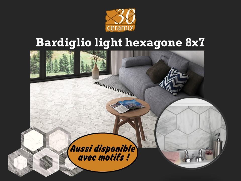 Bardiglio light hexagone 8x7 - 4,99$/pc