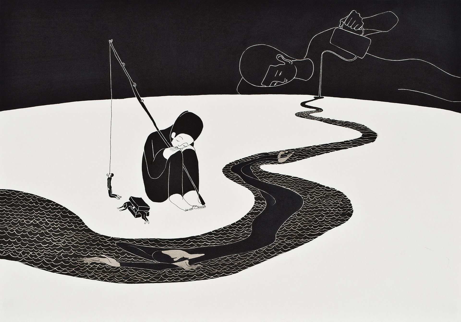 흐르게 둔다   /   Let you flow   Op. 0023P - 42 x 29.7 cm, 종이에 펜, 마커 / Pigment liner and marker on paper, 2009