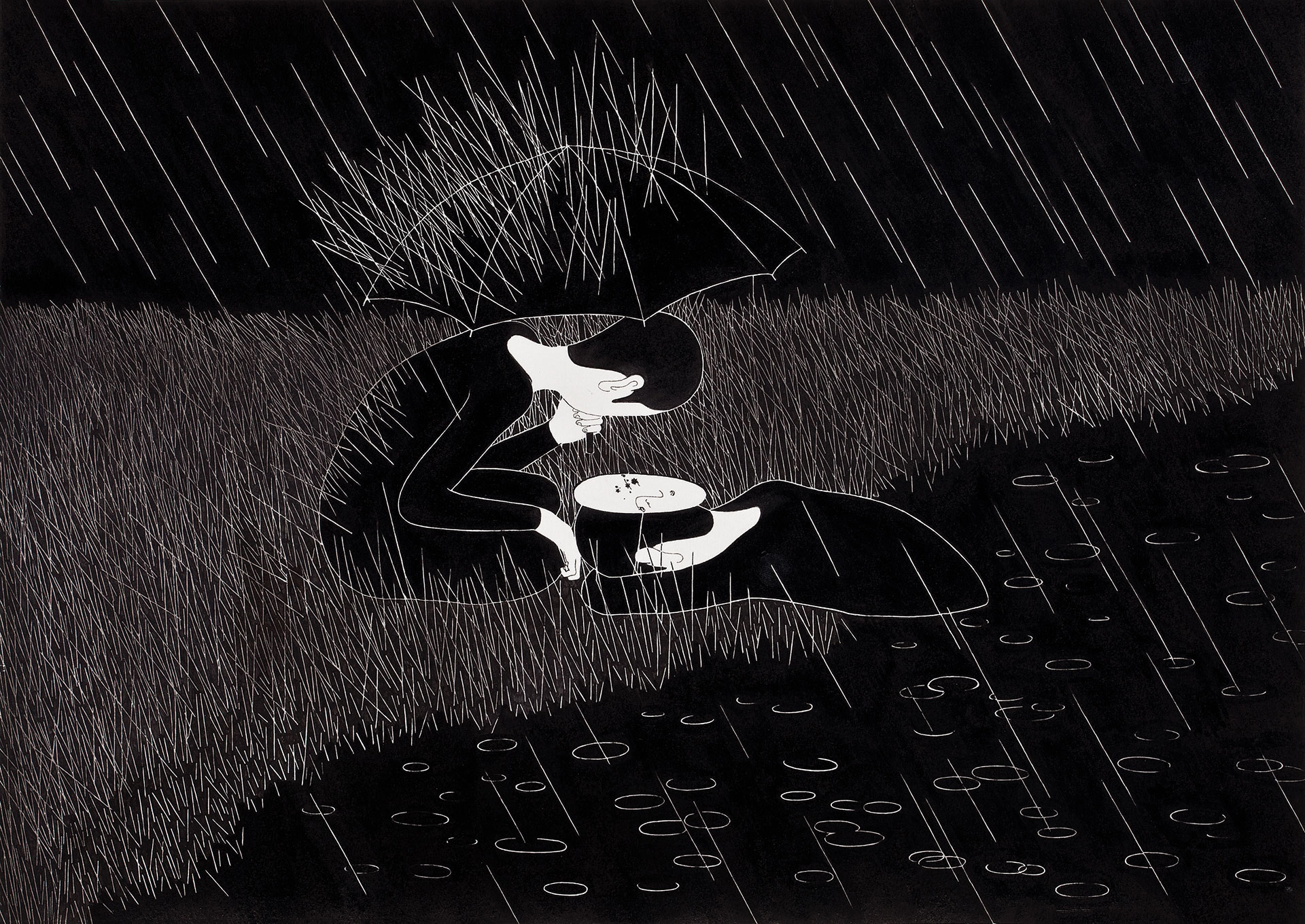 비와   /   The rain comes whenever I wish   Op. 0061C - 42 x 29.7 cm, 종이에 펜, 마커, 잉크 / Pigment liner, marker, and ink on paper, 2012