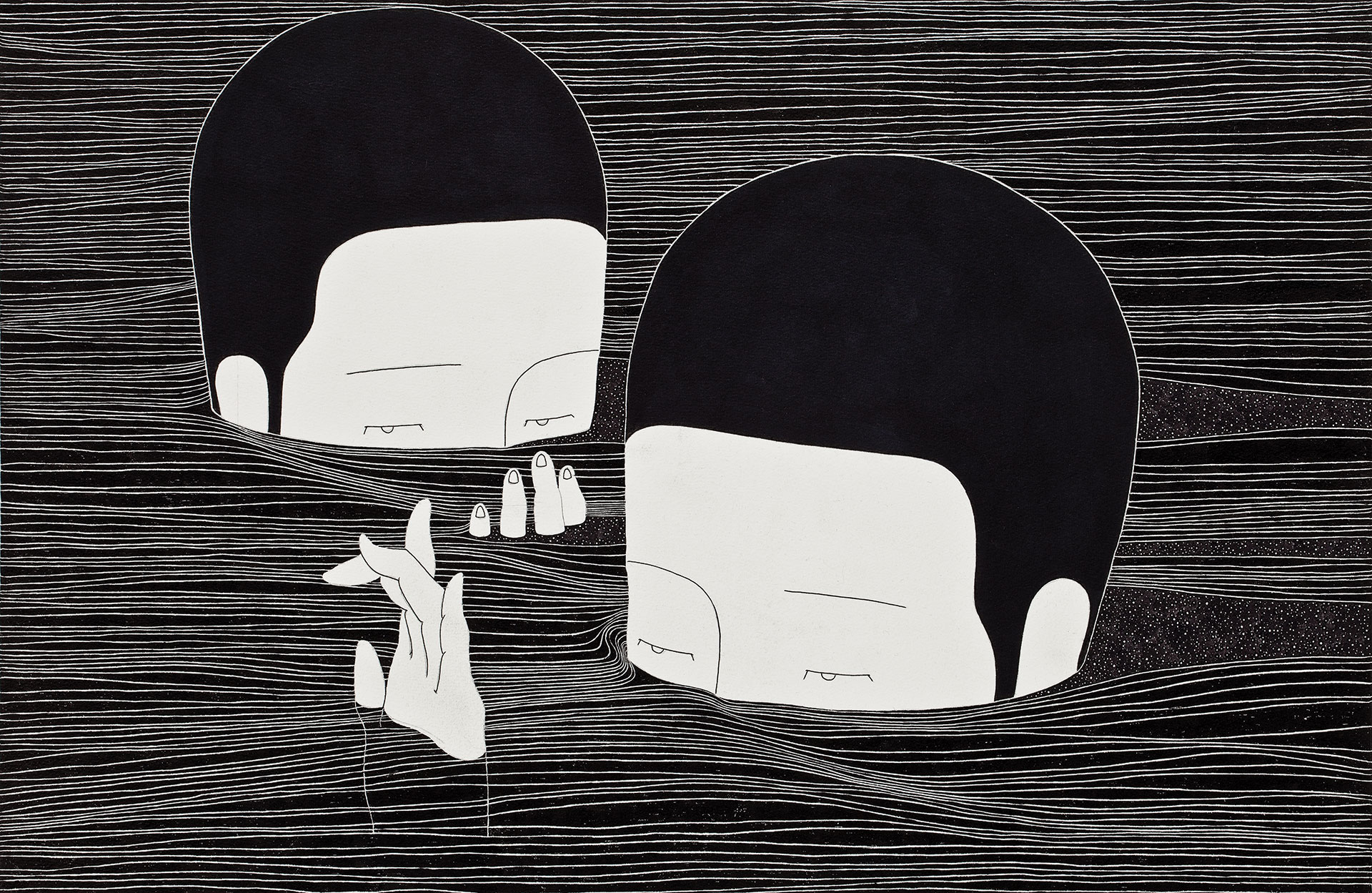 여기, 지금   /   Between the lines   Op. 0075F - 49.3 x 32 cm, 종이에 펜, 마커, 잉크 / Pigment liner, marker, and ink on paper, 2014   Asked by HNN