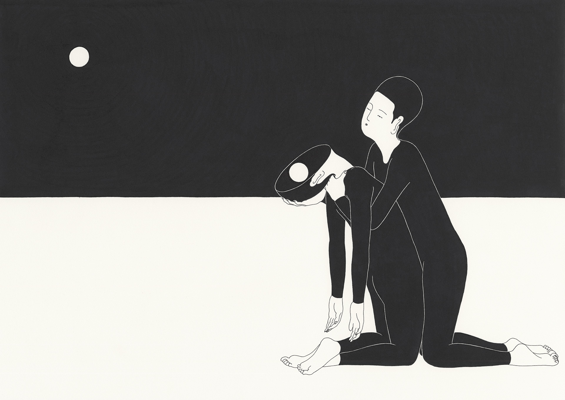 너에게서 온 빛   /   You, with the moon in the mirror   Op. 0079C - 42 x 29.7 cm, 종이에 펜, 마커 / Pigment liner and marker on paper, 2014 Commissioned by Sea Oleena