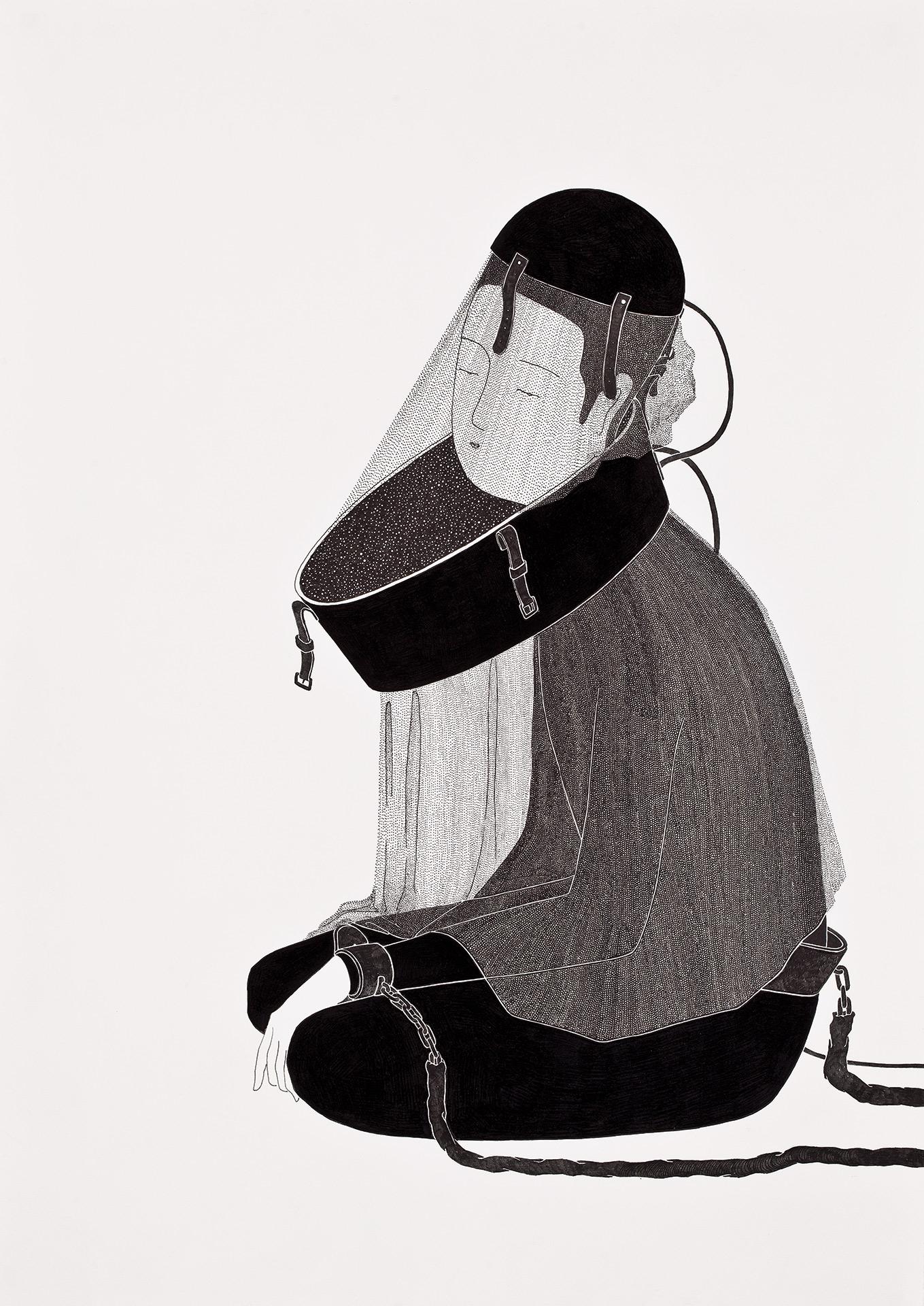 무아경 無我鏡  /  Beingkeeper   Op.0085P -29.7 x 42 cm,종이에 펜, 마커, 잉크 / Pigment liner, marker, and ink on paper, 2014