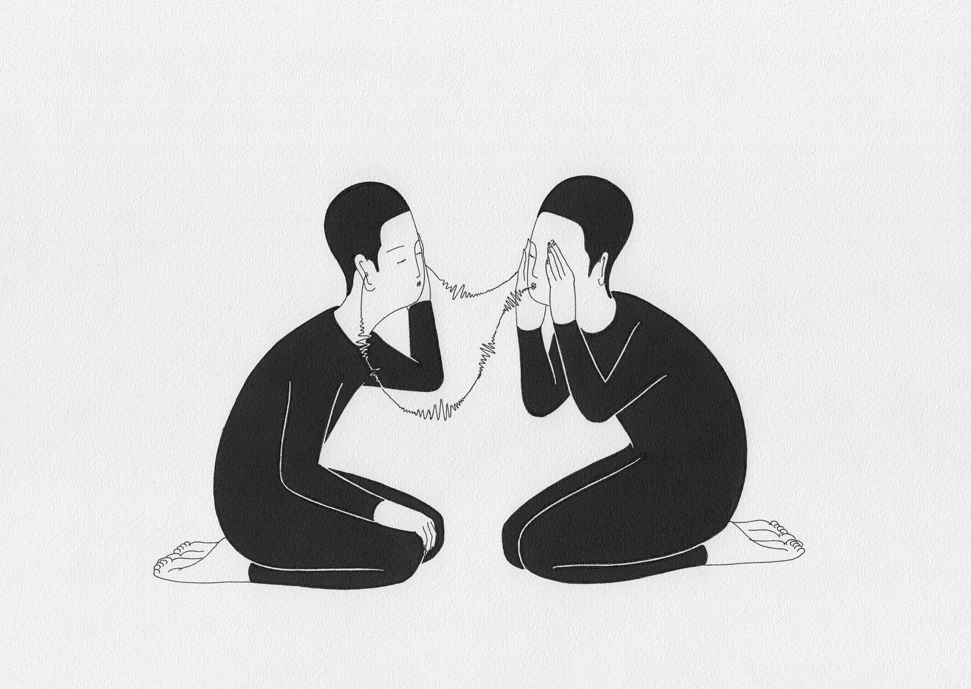 통신   /   Signal   Op. 0094CS-12 - 29.7 x 21 cm, 종이에 펜, 마커 / Pigment liner and marker on paper, 2015 Commissioned by Maison Kitsuné