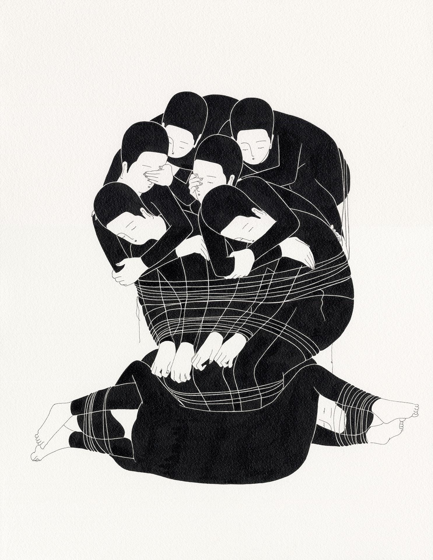 우울 덩어리  /  Creature of loneliness   Op.0126P -41 x 53 cm,종이에 잉크 / Ink on paper, 2016