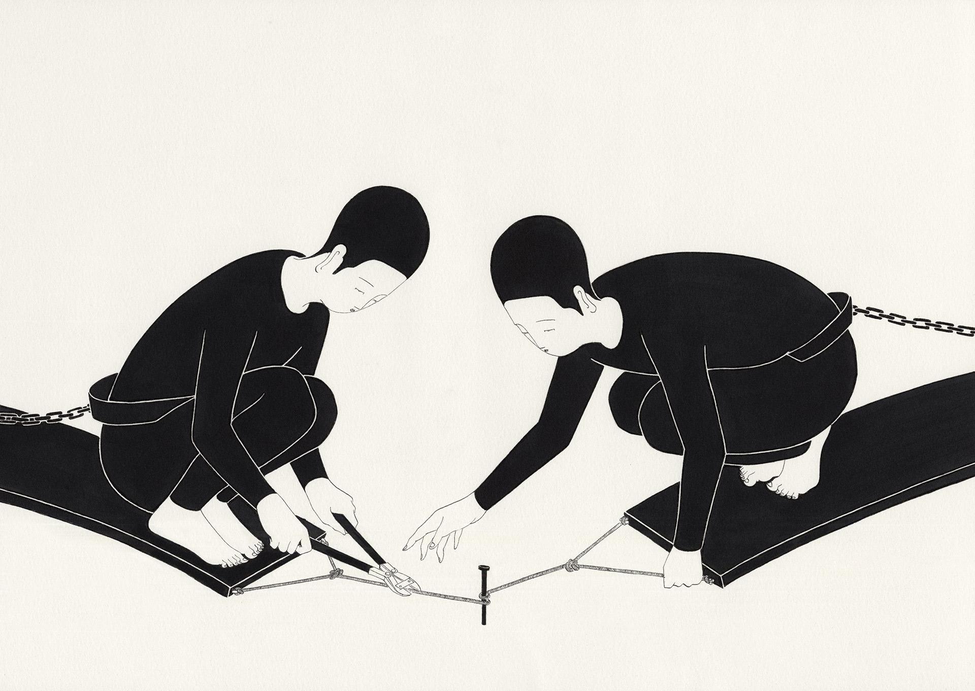 단애 斷愛  /  Farewell   Op.0130P -48 x 33 cm,종이에 펜, 마커 / Pigment liner and marker on paper, 2016