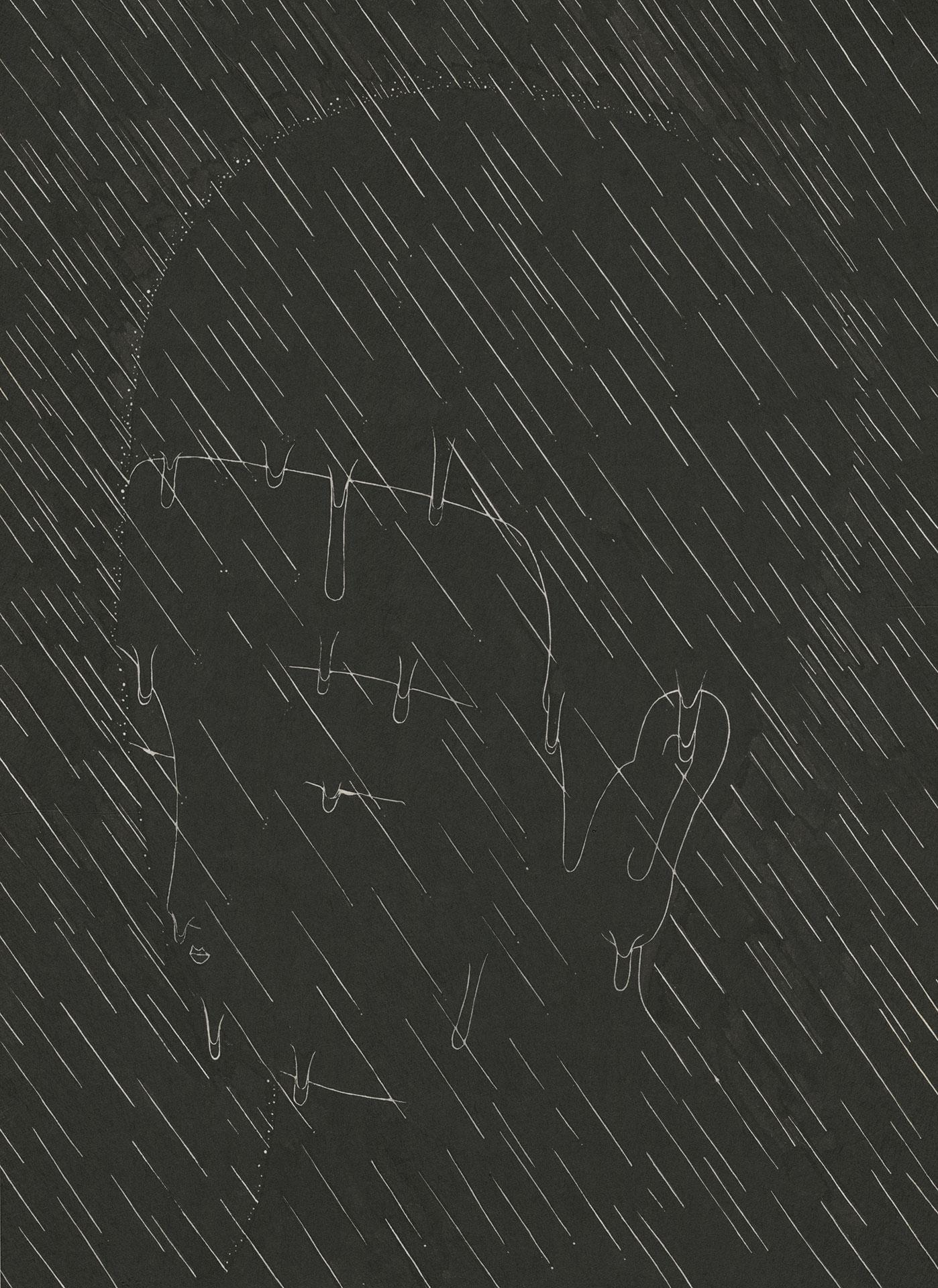 짓고 허무는 경계 II  /  Ephemeral silhouette II   Op.0164P -33.5 x 46 cm,한지에 먹 / Korean ink on Korean paper, 2017
